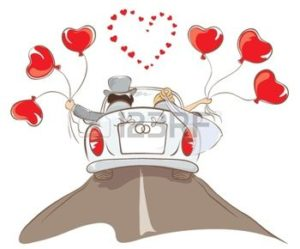 bride-and-groom-riding-in-a-car
